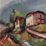 """Olio su tela 40x60 """"Scorcio di Siaio"""",1985"""